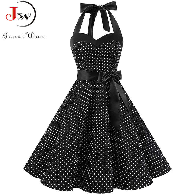 Vintage Gaun Wanita 2019 Musim Panas Seksi Polka Dot Cetak Halter Party Dresses Vestidos Plus Ukuran Jubah Pin Up Rockabilly Dress