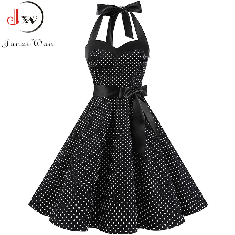 Vintage Dress Women 2019 Summer Sexy Polka Dot Print Halter Party Dresses Vestidos Plus Size Robe Pin Up Rockabilly Dress