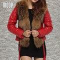 Меховой воротник из натуральной кожи куртка женщин овчины slim с коротким пальто зимнее вниз весте femme cuir настоящие Бесплатная доставка LT016