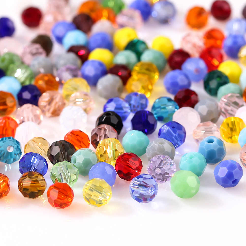 3 4 6 8mm Mixed Color Round Glass Beads For Jewelry Making Accessories for Needlework Round Faceted Spacer Beads Wholesale Z105
