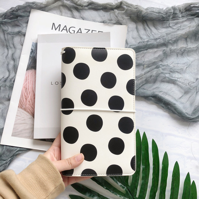 Lovedoki Black & White Dot Leather Cover Traveler Notebook Fashion Journals Planner Office And School Supplies Stationery