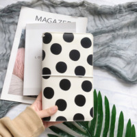 Lovedoki Black & White Dot Leather Cover Traveler Notebook Fashion Bullet Journals Planner Office And School Supplies Stationery