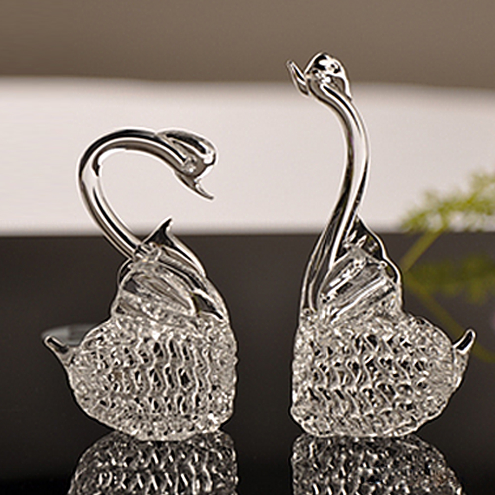 Glass animal ornaments - Glass Animal Ornaments Aliexpress Com Buy Hot Handmade 2pcs Crystal Glass Swan Figurine Home Accessories