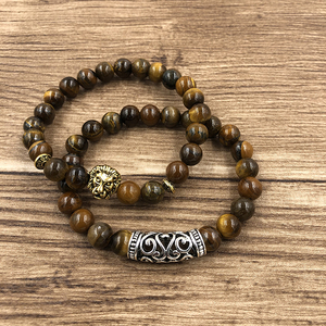 Image 5 - 2Pcs/Set Gold Silver Color Lion Charm Tiger Eye Lava Stone Prayer Beads Buddha Bracelet Set for Women Mens Pulseras Masculina