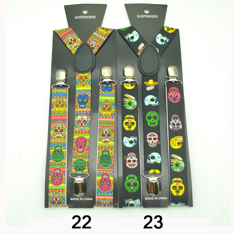 New Design 27 Colors Skull Braces For Women Men Unisex Clip-on Braces Elastic Slim Suspender Y-back Suspenders Wholesale &Retail