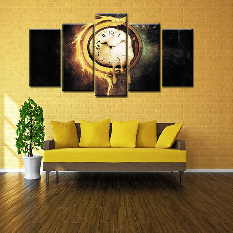 Wholesale 5 Pieces/set Abstract time poster Canvas Painting for living room Decoration Print Canvas Pictures Framed