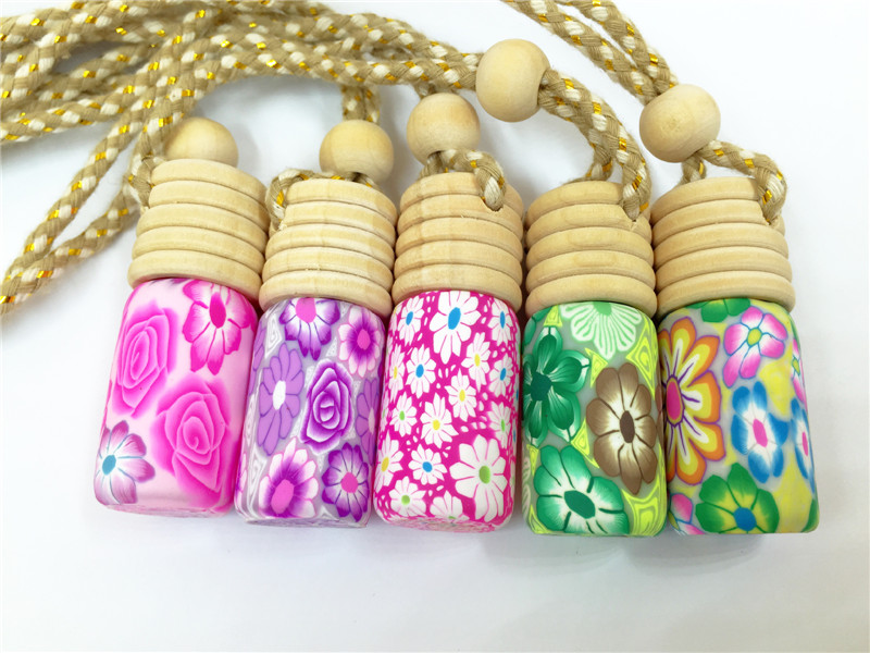 100pcs/lot 5ml  print perfume bottle polymer clay empty small perfume refillable bottle Car Pendant Personalized Gift