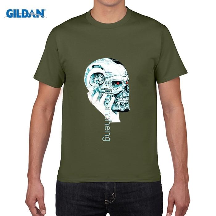 GILDAN DIY style mens t shirts 2018 Fashion Summer Mens T-Shirt Hand Hold Up the Smart Skull Printed Short Sleeve Tees