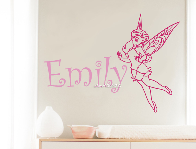 Personalised Fairy Vinyl Wall Art Stickers Any Name Girls Kids ...