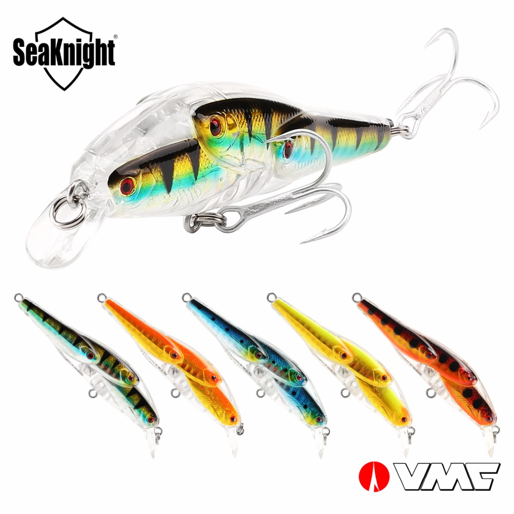 SeaKnight Minnow SK037 Fishing Lure 5Pcs/Lot 10.2g 78mm 0-1.0M Multi-fish Minnow Bait Floating Lure VMC Hook Lure Fishing Tackle