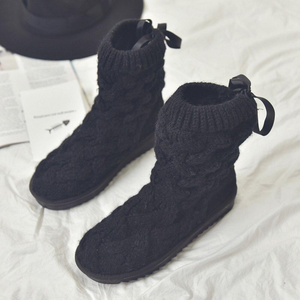 Chaussures Laine Haute forme Chaud Bottes gray Tube Black De Hiver Accueil Nouveau Arc Plate Neige D'hiver Des Chaudes Femmes E5PqB8RP