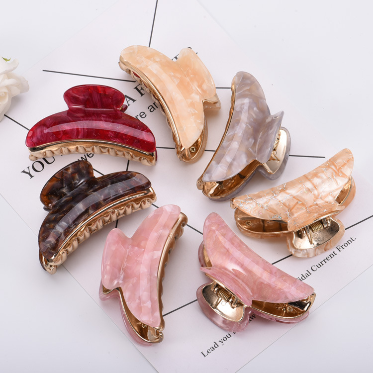9CM New Style Large Floral Acrylic  Hair Clips Girls Hairpins Crab Claws Jaw Clamp Hair Jewelry For Women Banana Grips Slid