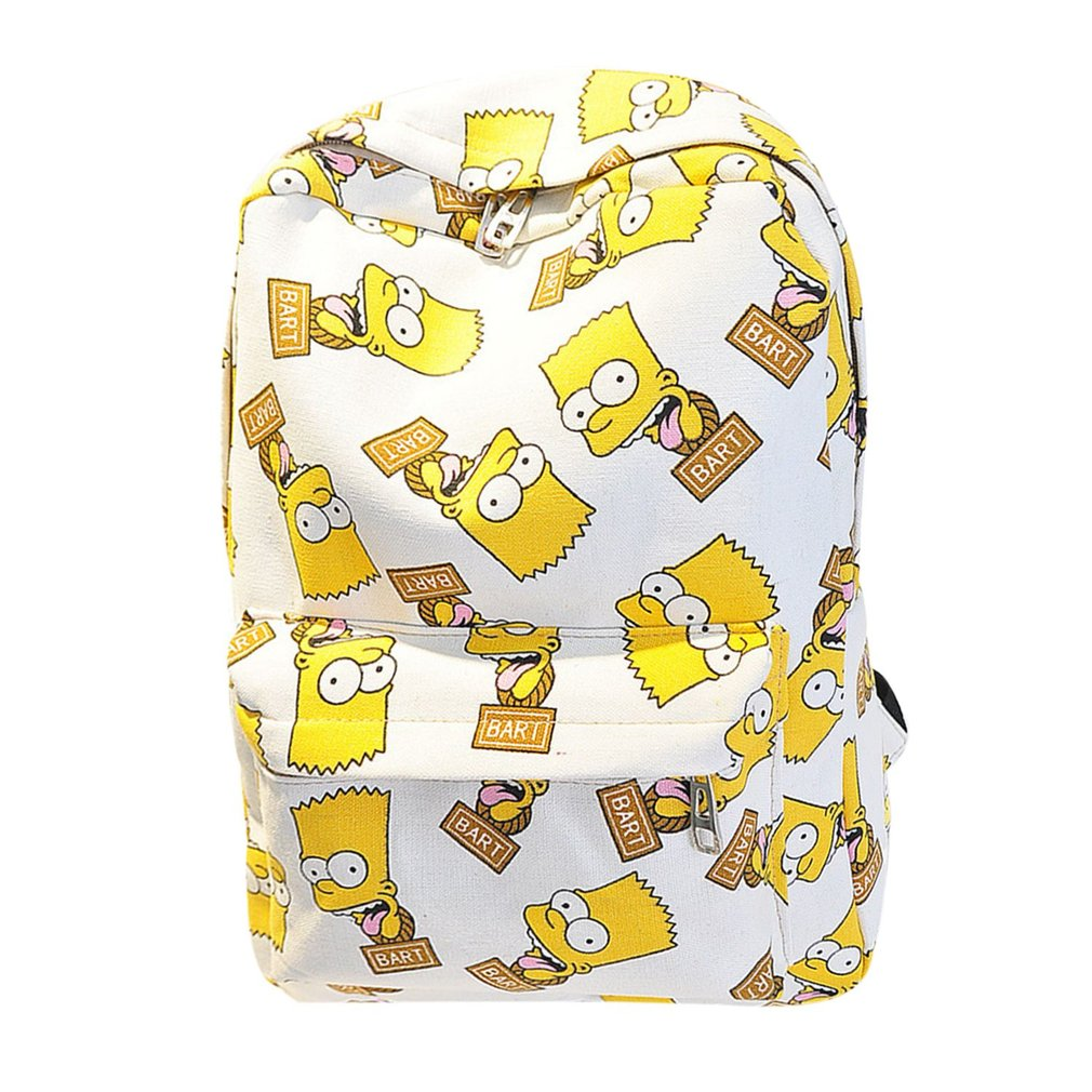 Cartoon The Simpsons Printing Women's Backpacks Canvas School Bags For Teenage Girls Travel Shoulder Bag