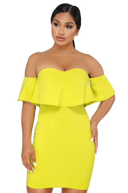 Formal Cocktail Women Summer Seductive homecoming party Dresses fashion  yellow Black Off The Shoulder Ruffle Mini Dress 220344 1702ccc1d