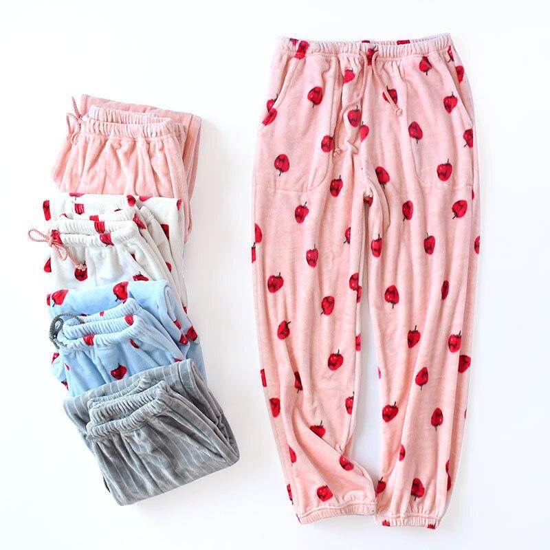 Autumn Winter Flannel Pyjama Trousers Women Sleep Bottoms Pajama Pants Lounge Wear Women\'S Pajamas With Pants