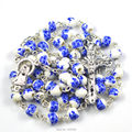 Popular blue flower ceramic bead religious rosary beautiful rosary