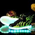 Дети Мода Led Light Up Shoes Крыло Лоскутное Мальчик Девочка Светящиеся Флеш Кроссовки Малыш Intantil Спорт Световой Shoes With Light