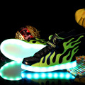 Niños de la manera led light up shoes ala patchwork boy chica cestas glowing flash zapatillas kid sport shoes con luz luminosa