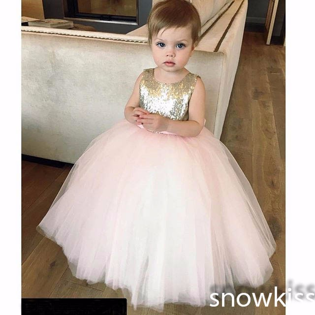 2428b9163ee7d Nice gold and pink sequined flower girl dresses with bow sash lovely  wedding 1 year birthday parties tulle ball gowns custom -in Dresses from  Mother & ...