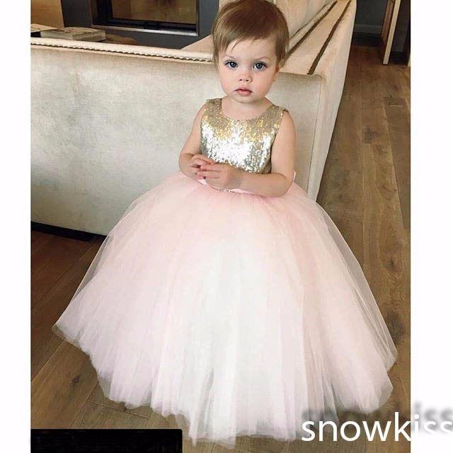 Online-Shop Schöne gold und rosa pailletten blumenmädchenkleider mit ...