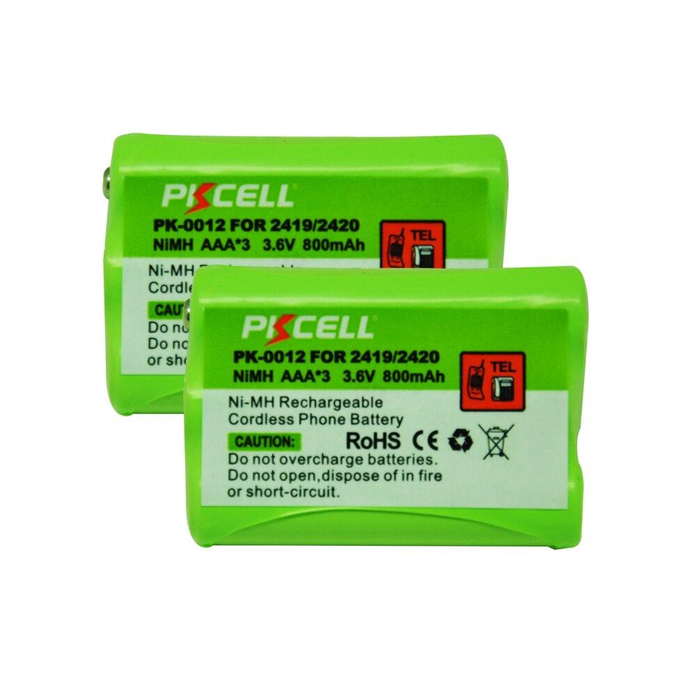 2Pcs*PKCELL Ni MH Battery Pack AAA 800mAh 3.6V