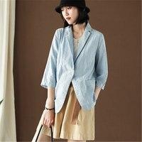 Blazer Jacket Women New Summer Thin Linen Suits Blazers Single Button Women's Fashion Casual Ladies Work Suit Outerwear YT5083