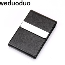 Weduoduo New Women Men Business ID Credit Card Holder Fashion Brand Metal Aluminum Card Case PU Leather Name Holder business style pu aluminum alloy name card holder case silver brown