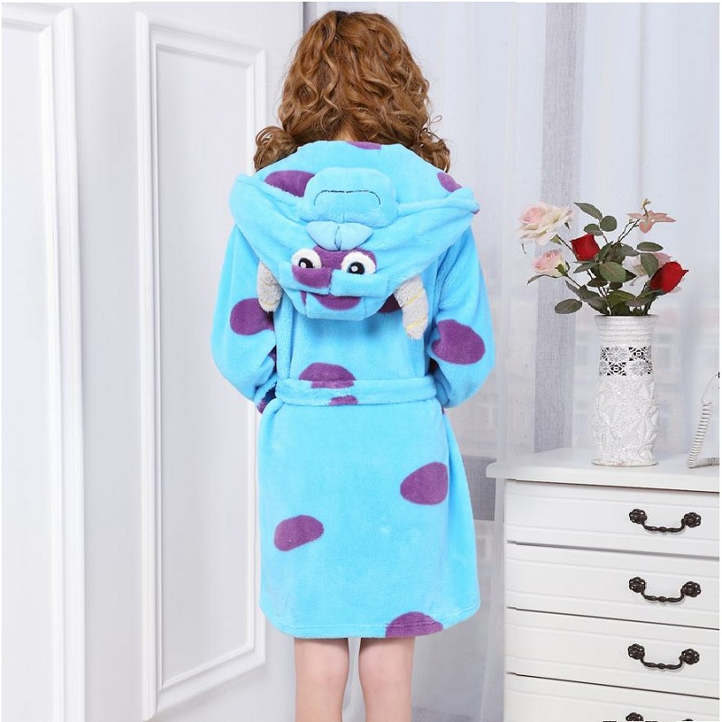 winter Flannel bathrobe Cute Character Sully pyjama women Long ...