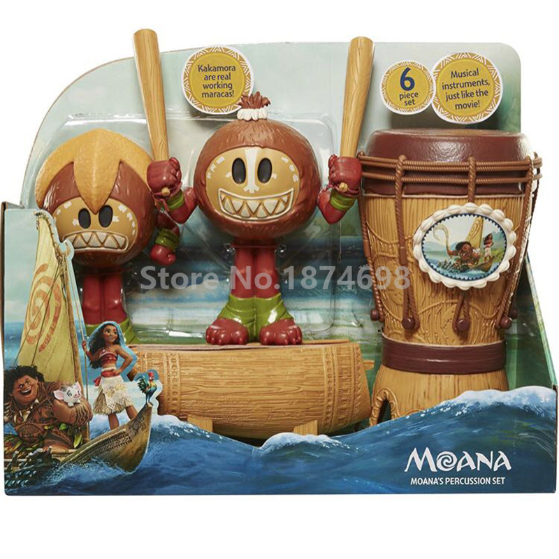 New Moana Moana s 6 Piece Percussion Set Kakamora With Drum Figure Kids Toys for Baby