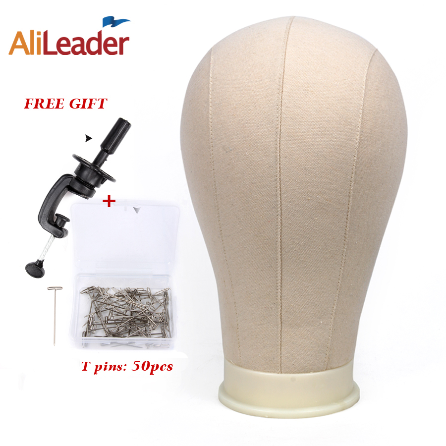Free Gift One Holder And Pins Canvas Block Head For Hair Extension/ Lace Wigs/Display Styling Mannequin Canvas Head Wig Stand