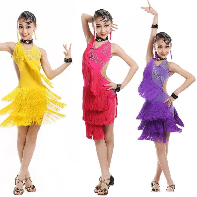 110 170 см, профессиональное платье для латинских танцев с бахромой для девочек, детское кружевное бальное платье с кисточками для сальсы, танц