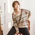 Étnica Mori Chica Loose Suéter Jacquard Cuello Redondo de manga Larga Ropa de Abrigo Suéter de Punto Mujeres Tricot Donna Superior Túnica Mori
