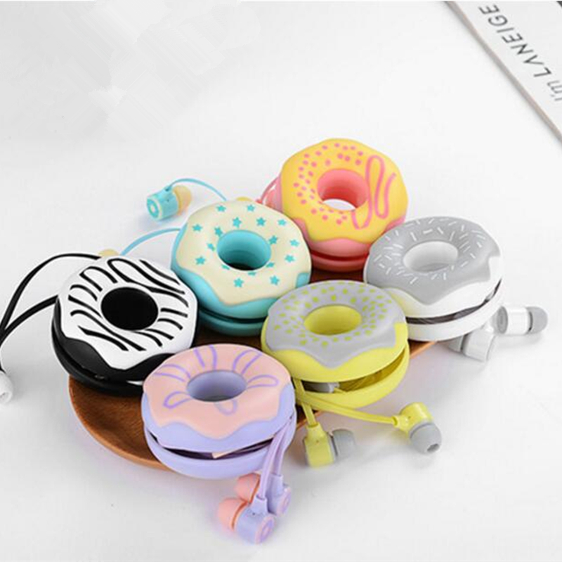 Cute Girls Donuts Macarons Earphones 3 5mm in ear Stereo Earbuds with mic Earphone Case for
