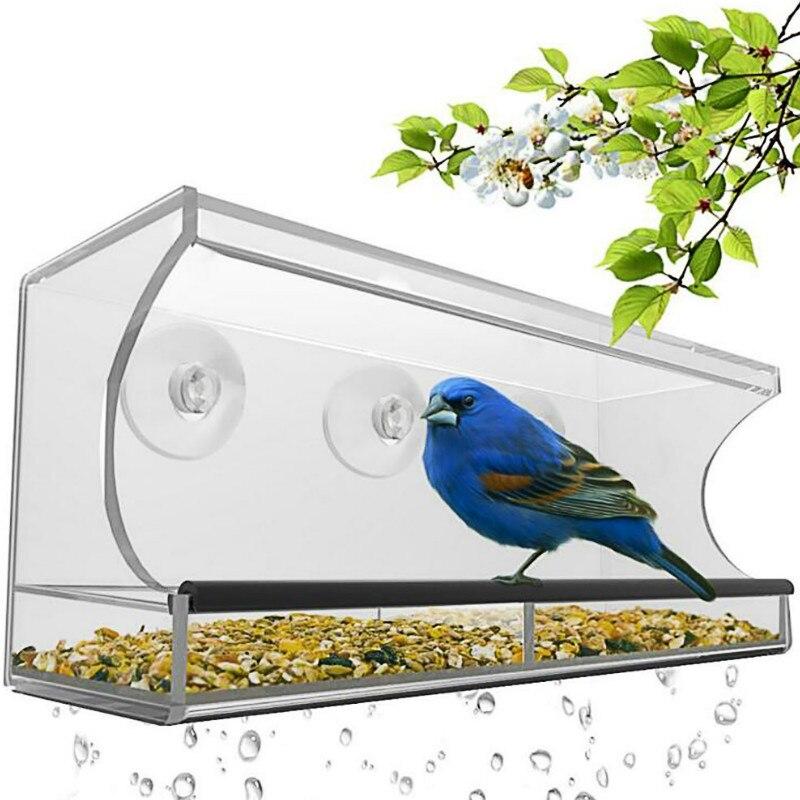 Mangeoire pour oiseaux acrylique transparent verre plastique automatique perroquet mangeoire fournitures d'oiseaux en plein air ZP01021531