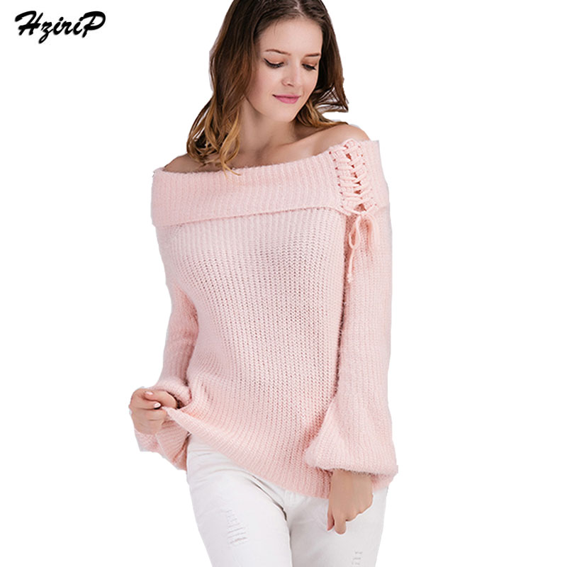 5d759764f67bf3 HziriP Off Shoulder Elastic Winter Women Sweater And Pullovers Sexy Fashion  Knitted Lace Up Long Sleeve Tops Oversized Sweaters