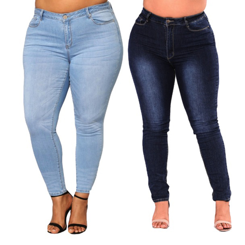 PLUS SIZE Jeans Women High Waist Waisted Skinny Pencil Blue Denim Pants Women Stretch Solid Elastic Jeans Women 4XL 5XL 6XL 7XL