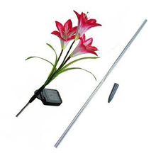 BIFI-Solar Powered Energy Saving LED Color Changing Red Lily 4X Flowers Garden Light Lawn Lamp Waterproof
