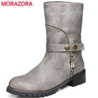 MORAZORA 2017 New Arrive Ankle Boots Fashion Punk Med Heels Boots Woman PU Soft Leather Spring