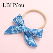 1PCS Fashion Hand Tie Floral Print Girls Nylon Headbands,Stretchy Elastic Bows Hairbands,Baby Knotbow Hair Accessories