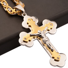 цена на Men's CZ Rhinestone Cross Necklace Gold Silver Stainless Steel Cross Pendant Necklace 6mm Byzantine Chain for Men
