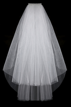Fashion Simple Cheap White Ivory Wedding Veil Satin Edge Two Layers Wedding Accessory Bridal Veil Free Shipping