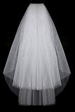 Fashion Simple Cheap White Ivory Wedding Veil Satin Edge Two Layers Wedding Accessory Bridal Veil Free Shipping