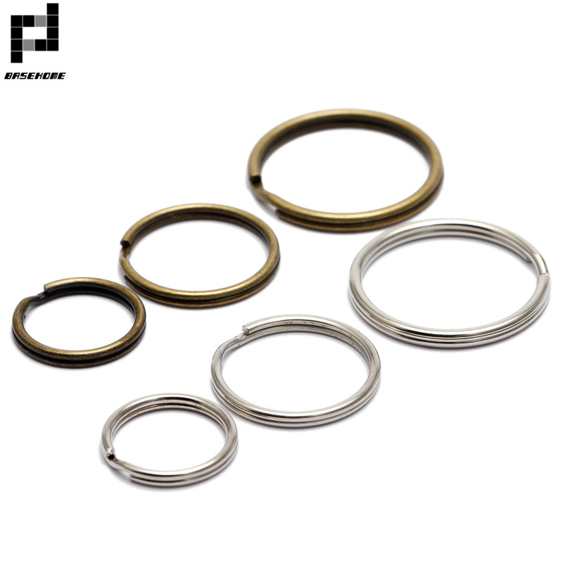 BASEHOME 50pcs/lot 16mm/20mm/25mm Keychain Circle Keyring Findings Fit DIY Keychain Rings Circles Accessories
