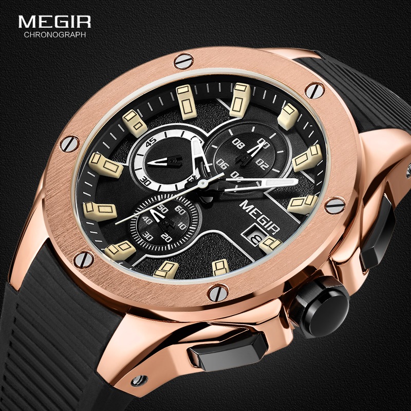 MEGIR Racing Sports Quartz Watches For Men Army Waterproof Luminous Silicone Band Chronograph Analog Wristwtach For Man 2053-1N0
