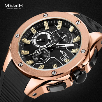 MEGIR, relojes de cuarzo para deportes de competición para hombres, pulsera de silicona luminosa resistente al agua con cronógrafo, reloj de pulsera analógico para hombre 2053-1N0