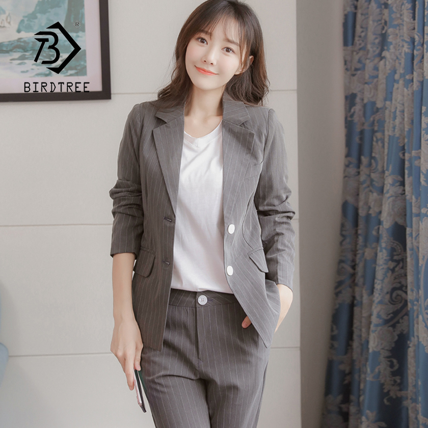 New Women Classic Striped Notched Single Breasted Blazer & Ankle Length Pants Suit Office Lady Vintage 2 Piece Set Hot C86013F