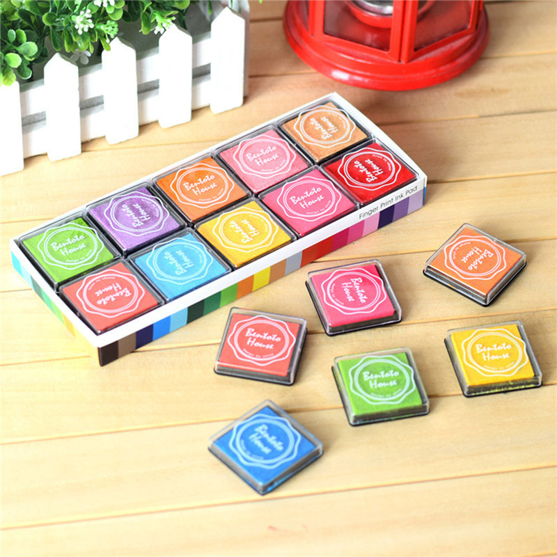 DoreenBeads Colorful Eco-friendly Printing Ink Finger Painting Square Sponge Printing Mud Kids Games Accessories 4x4cm,20PCs/Set tri fidget hand spinner triangle metal finger focus toy adhd autism kids adult toys finger spinner toys gags
