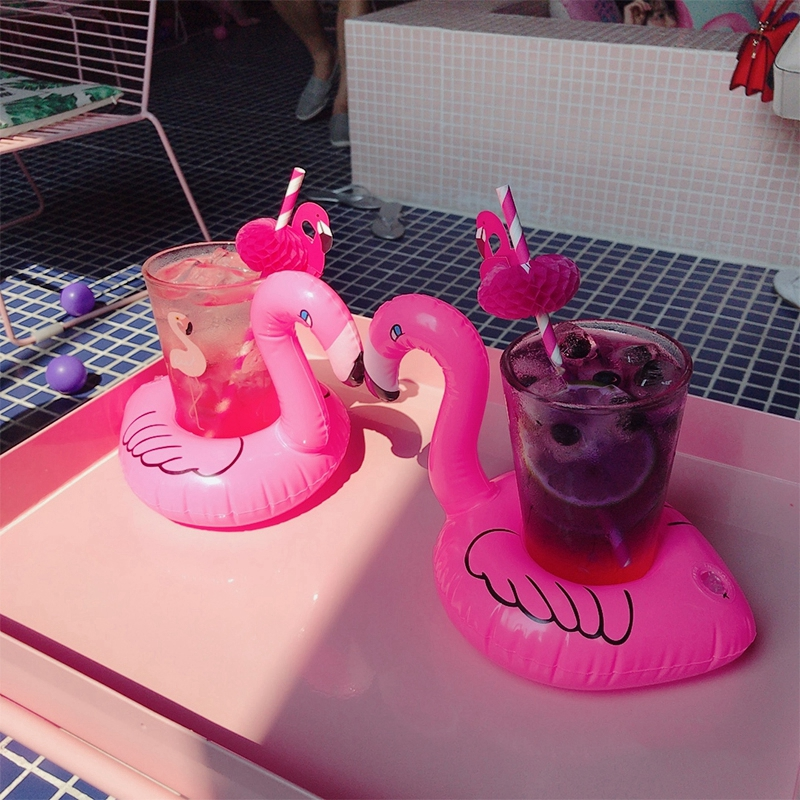 Cute Pink Flamingo Drink Holder PVC Inflatable Floating Swimming Pool Beach Party Kids Swim Beverage Holders (10)