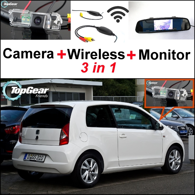 3 in1 Special Rear View Camera + Wireless Receiver + Mirror Monitor Easy DIY Back Up Parking System For SEAT Mii VW Up Citigo liislee 3 in1 rear view special camera mirror monitor easy back up parking system for nissan nv200 evalia wireless receiver