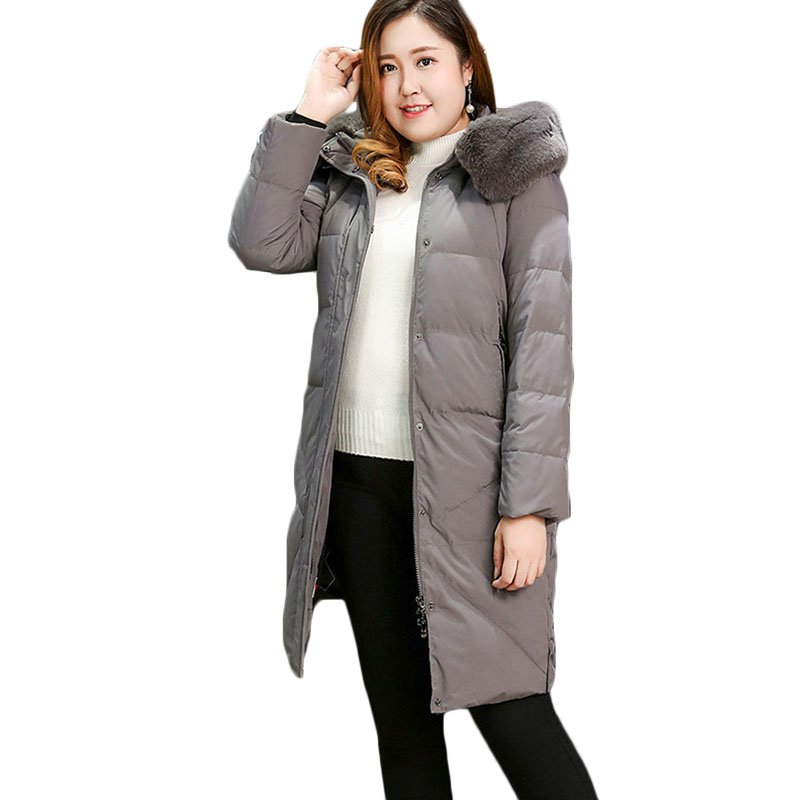 New winter jacket Extra large code women long thick winter coat hooded Fur collar Down cotton jacket women's   parkas   10XL A1060